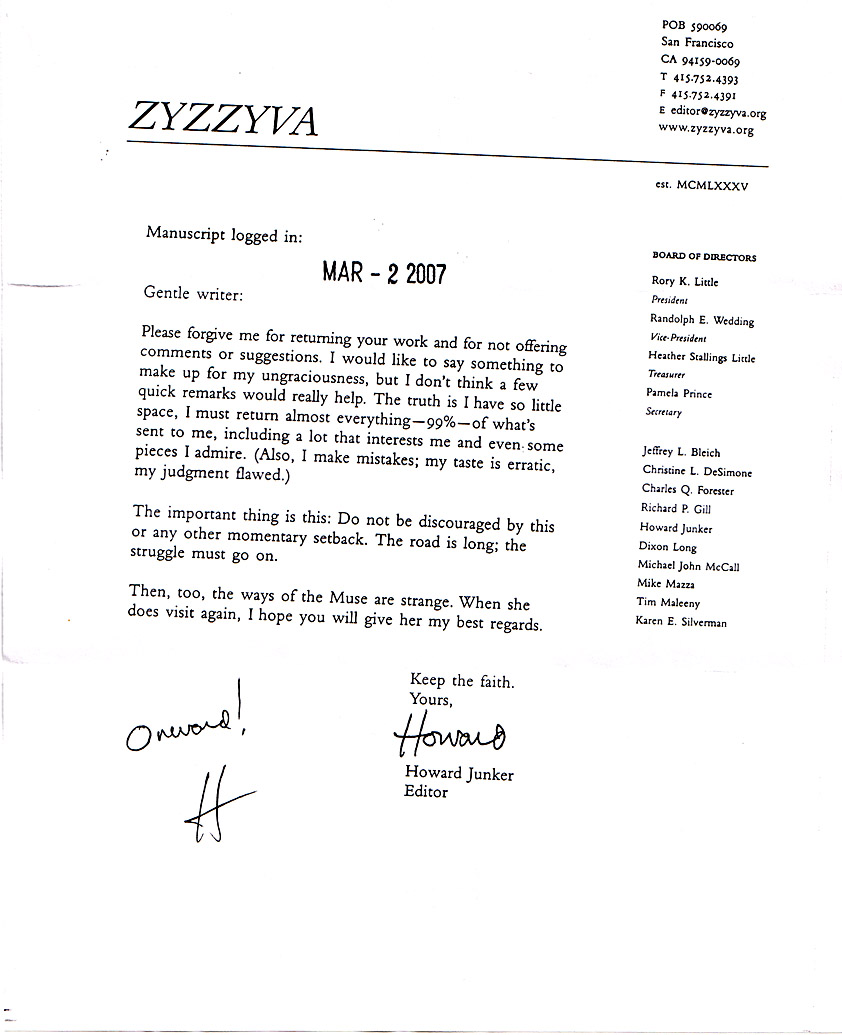 ZA The greatest rejection letter ever – Rejection Letters