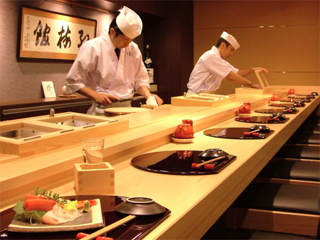 Upscale sushi restaurant in Japan