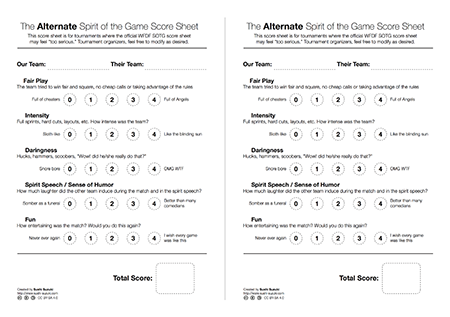 Alternate SOTG Scoresheet